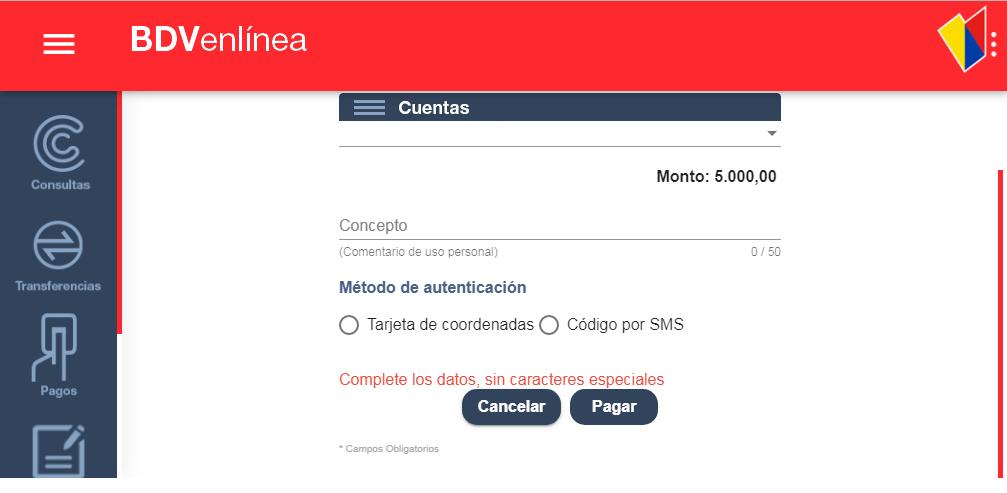 Recarga Movilnet Banco de Venezuela BDV en linea