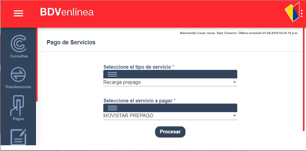 Banco de Venezuela Recarga Movistar Prepago