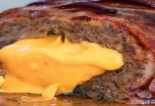 Receita de Bolo de Carne com Recheio de Queijo Cheddar