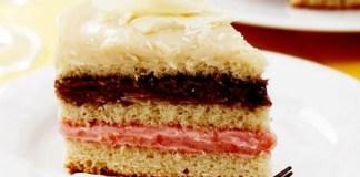 Receita de Bolo 3 Brigadeiros, branco, chocolate e morango