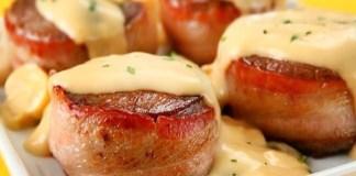 Receita de Medalhões de pescada com bacon na frigideira