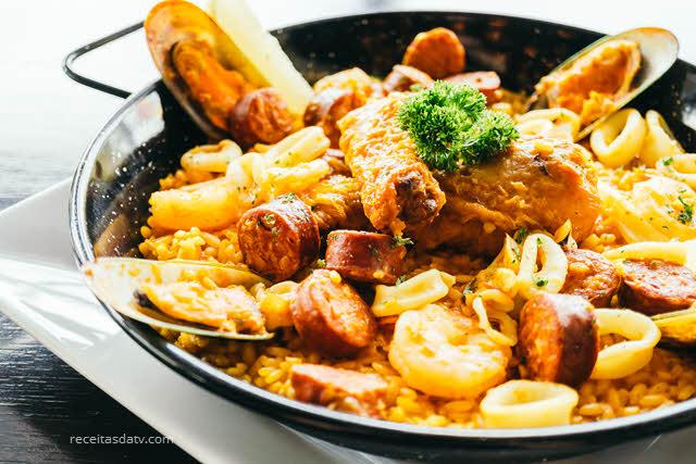 Receitas de Paella com frutos do mar