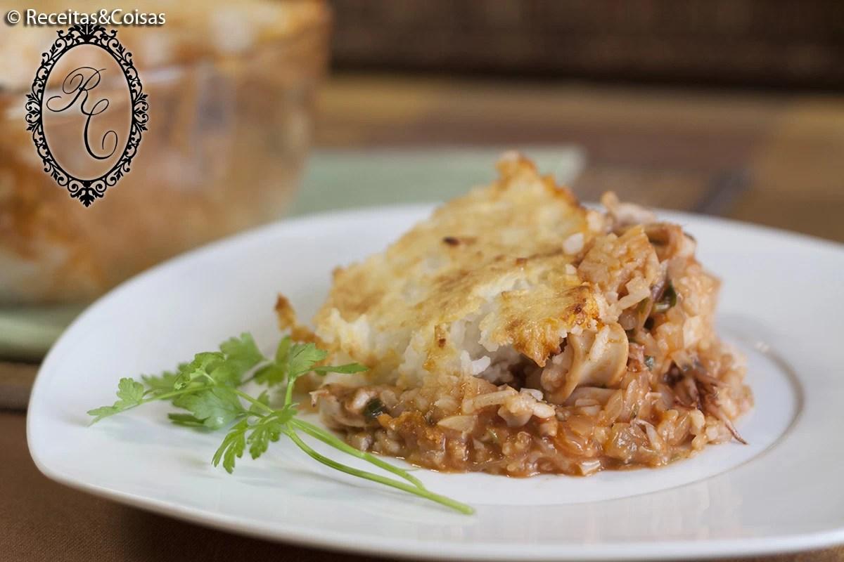 Empadão de lulas com arroz sem glúten