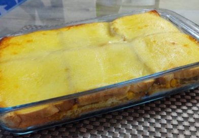 Torta de pão de forma gratinada