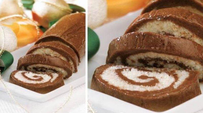 Rocambole de chocolate com coco