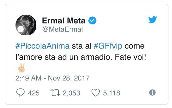 Ermal Meta, 'Piccola Anima' usata al GF Vip: la furia del cantante