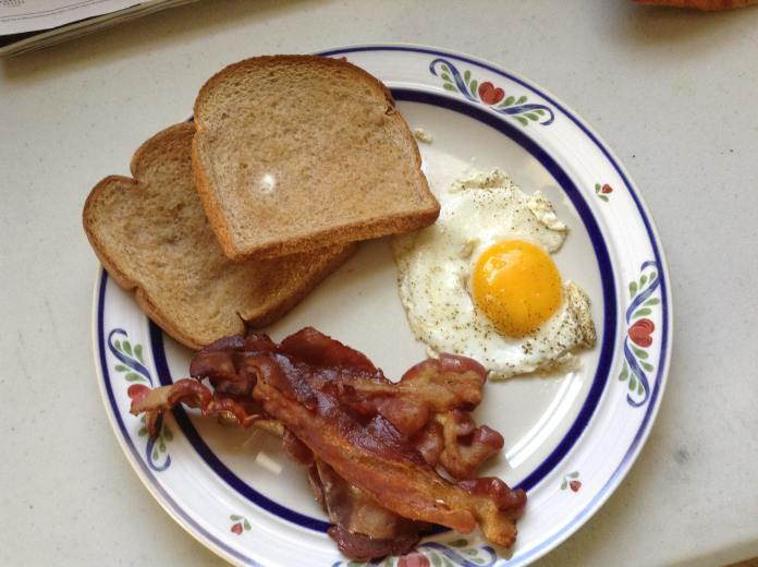 A perfect blend of eggs with bacon