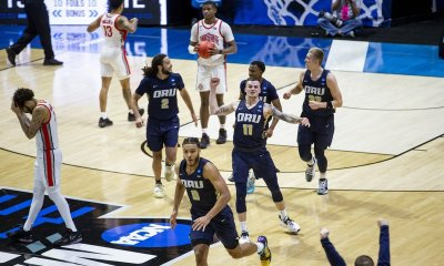 Oral Roberts surprises Ohio State in the NCAA tournament's first major upset.