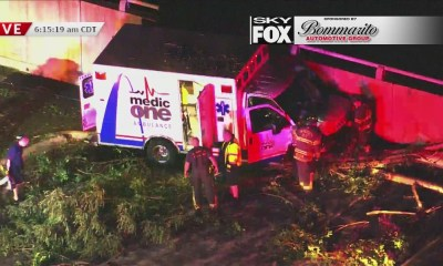 Ambulance goes off road near southbound 170 at Delmar