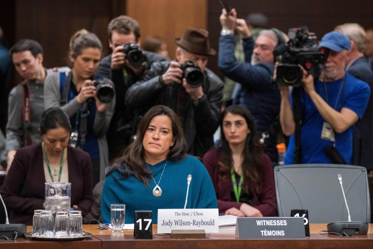 Wilson-Raybould gives testimony about the SNC-LAVALIN affair before a justice committee hearing in February 2019 (Lars Hagberg/AFP/Getty Images)