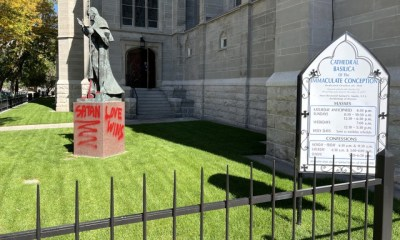 Denver cathedral spray-painted with messages of hate
