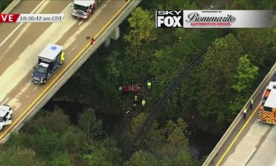 3 people rescued after car crashes into ravine near Hwy 367 in north St. Louis County