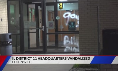 Illinois State Police District 11 Headquarters heavily spray-painted