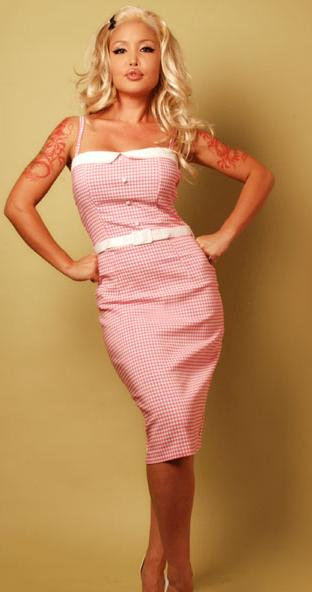 "Misery Boutique Pink and White Gingham ""Marilyn"" Dress"