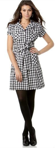 XOXO Gingham Cotton Shirtdress