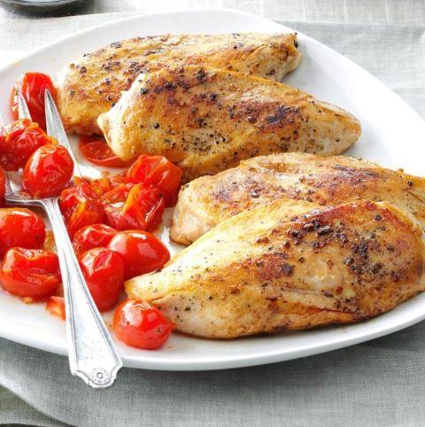 Pollo Balsámico con Tomates Asados