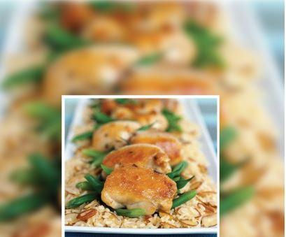 Pollo con arroz y almendras.