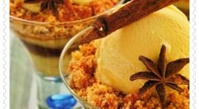 Crumble de peras con crema especiada