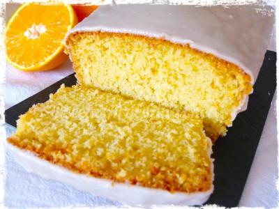 budín de naranja con glaseado