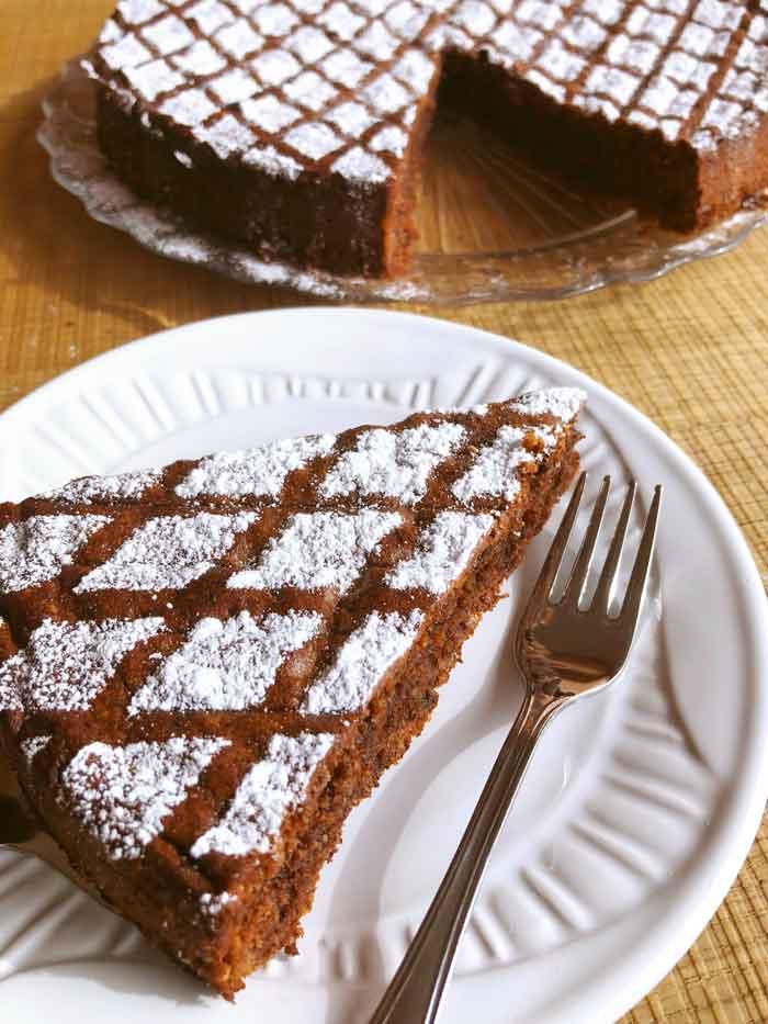 Torta de chocolate, almendras y avellanas