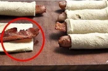 rollos bacon y pan - Entradas de bacon con pan