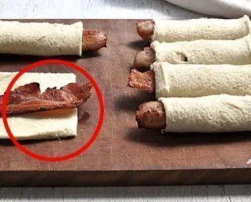 rollos bacon y pan 300x241 - Entradas de bacon con pan