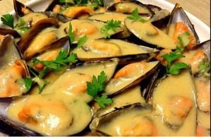 mejillones en salsa de puerro con mostaza - Pescados y mariscos con Thermomix