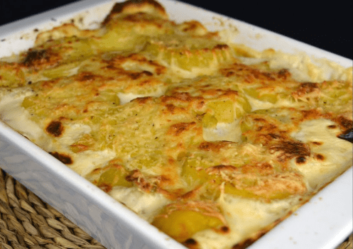 gratinado de patatas y manzana - Gratinado de patatas al horno con manzana