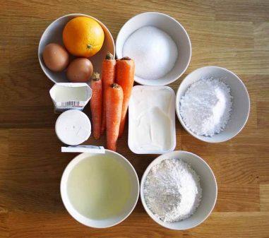 Ingredientes para hacer tarta de zanahoria