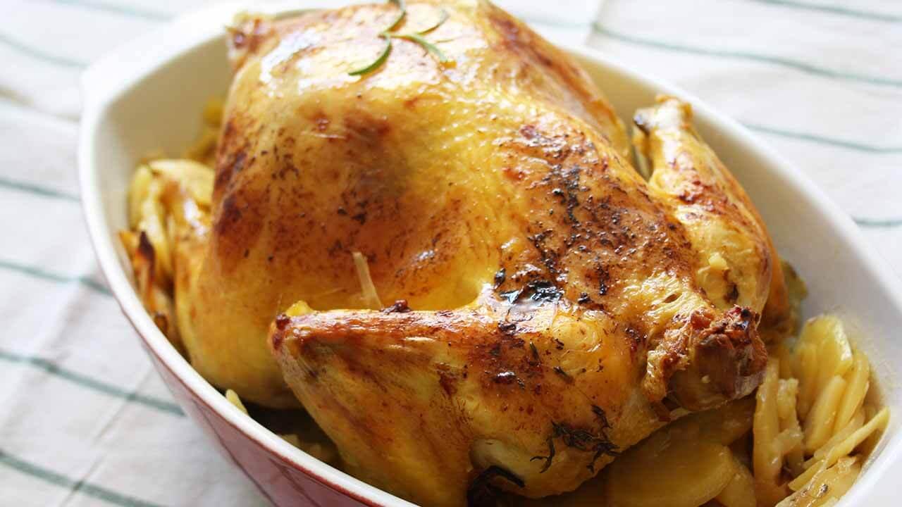 pollo al horno fuente roja
