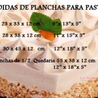 Medidas de planchas para pastel