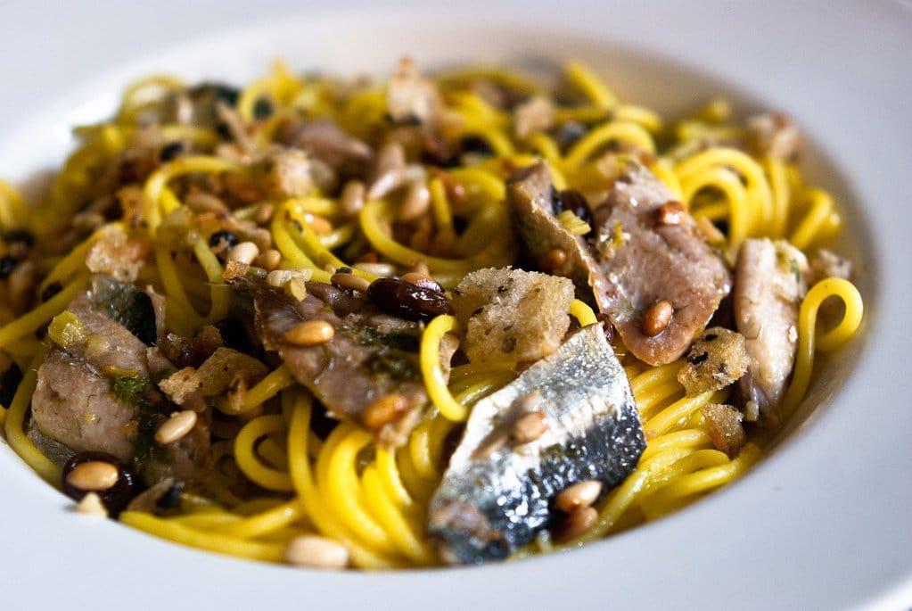 Receta pasta con sardinas