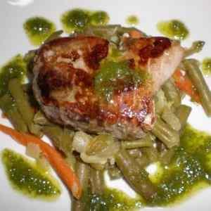 dbf38d4f97abb8ef843a32ffd8c16913 - ▷ Solomillos de atún en cama de verdura y salsa de lechuga rizada 🐠 👩🍳