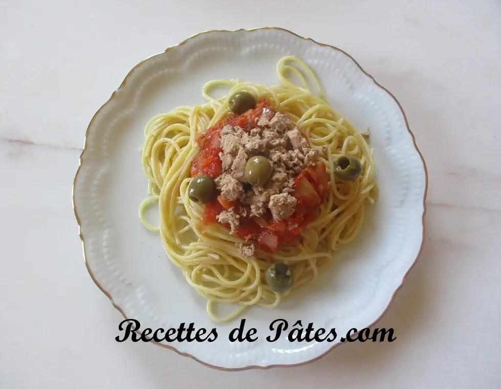 Spaghetti sauce tomate et thon