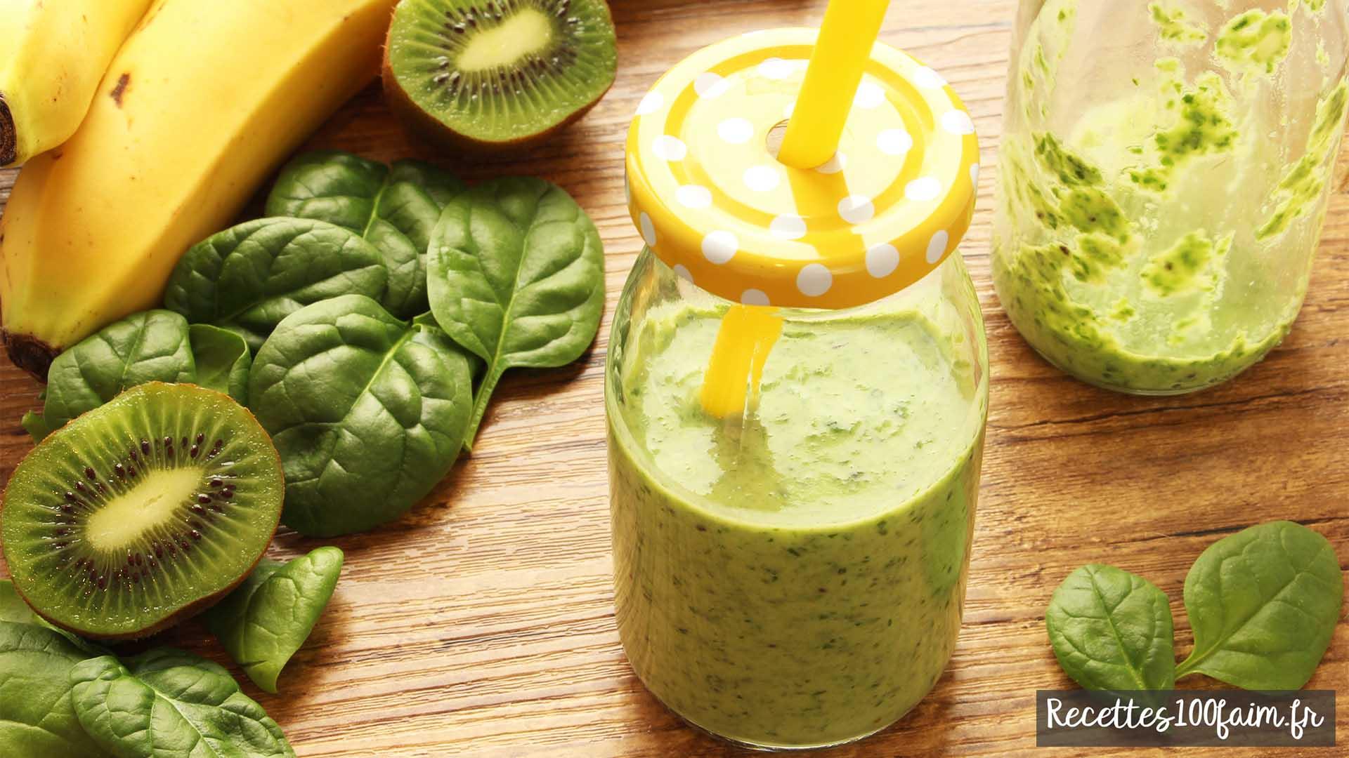 recette de smoothie banane kiwi epinard lait de coco