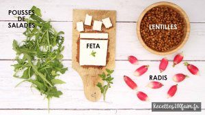recette ingredients salade lentille radis feta