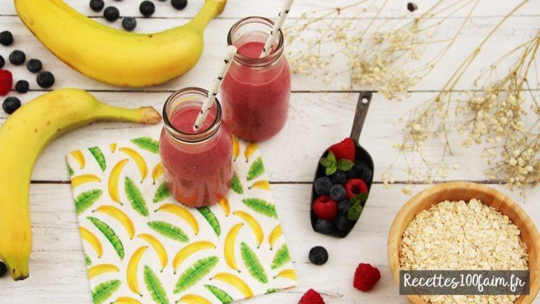recette smoothie fruits rouge banane avoine