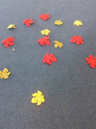 These little leaves were used in a warm up game! See explanation below.