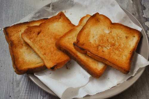 Fried crunchy bread slices.