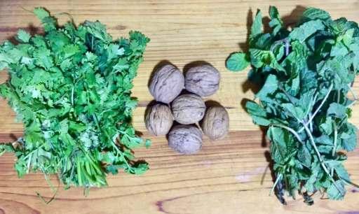 Cilantro, mint and walnut for haryali paste.