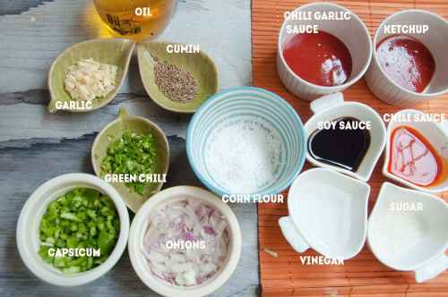 Ingredients for Manchurian Gravy