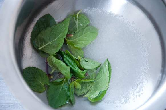 mint, water, sugar in a pot to make sugar syrup.