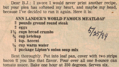 Ann Lander's World Famous Meatloaf Recipe