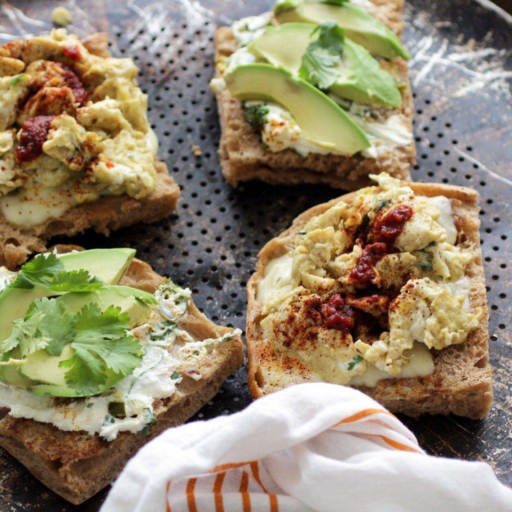 double cheese breakfast sandwich with avocado