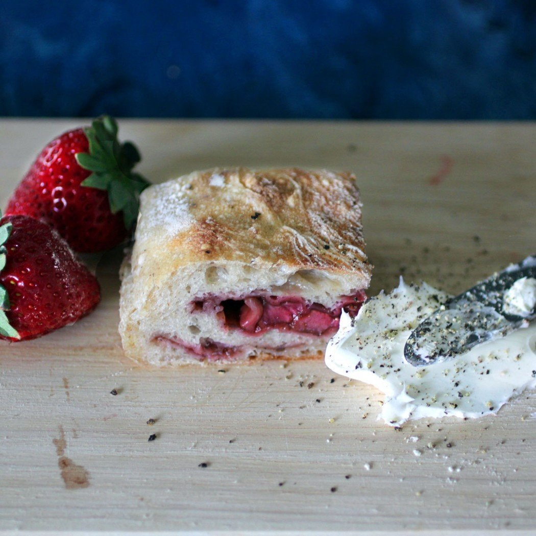 balsamic roasted strawberry ciabatta with cream cheese