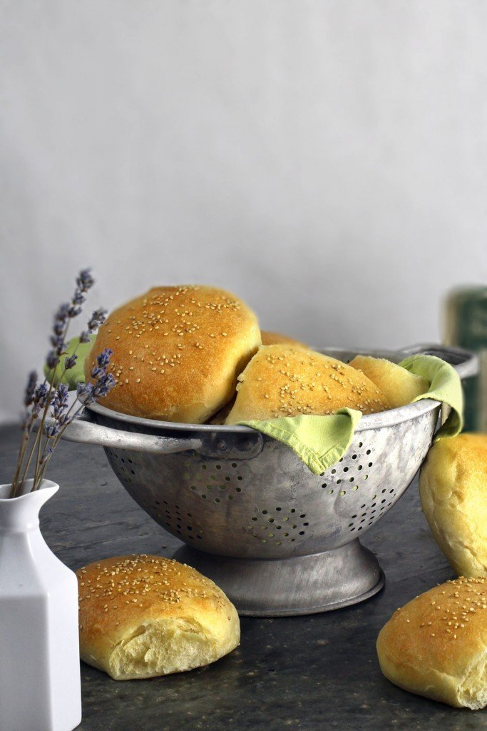 Fresh baked soft and tender sandwich rolls