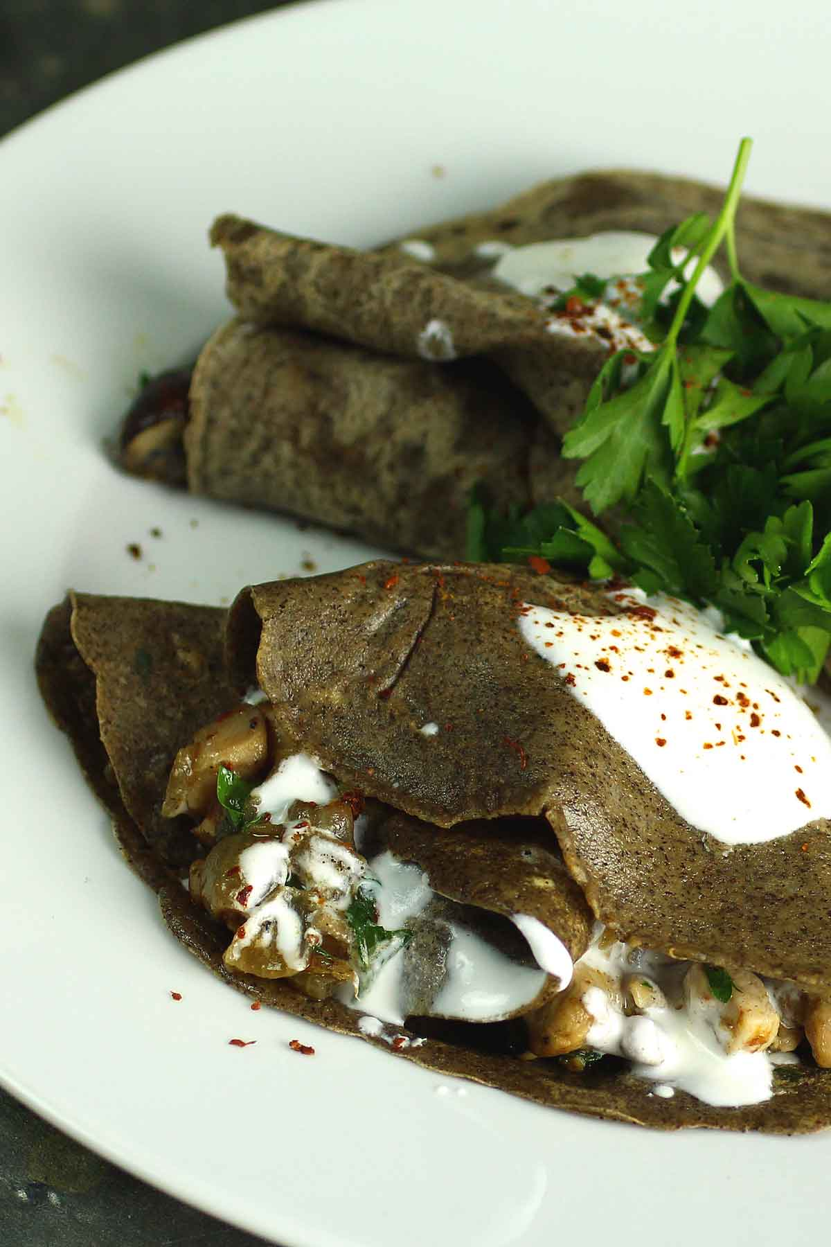 Chicken and Mushroom Stuffed Buckwheat Crêpes