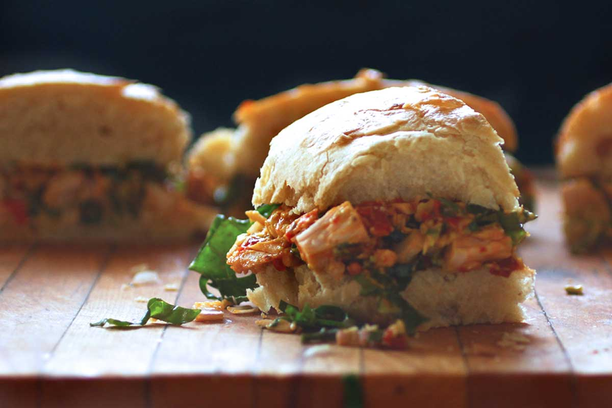 Avocado Tuna Salad Sandwich with harissa and kale