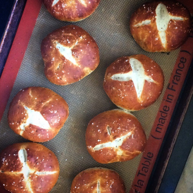 challah pretzel buns