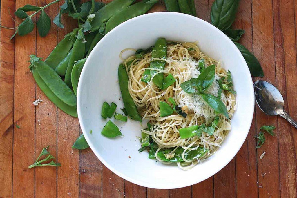 Summer peas and angel hair pasta